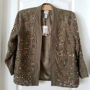 NWT Chico's Olive Green linen beaded jacket
